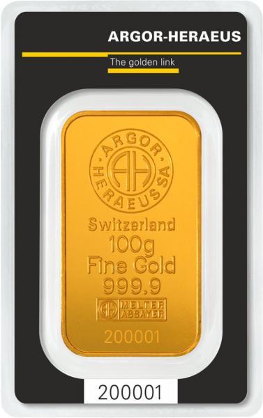 Goldbarren Argor-Heraeus 100 g