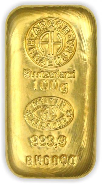 Goldbarren Argor-Heraeus gegossen 100 g