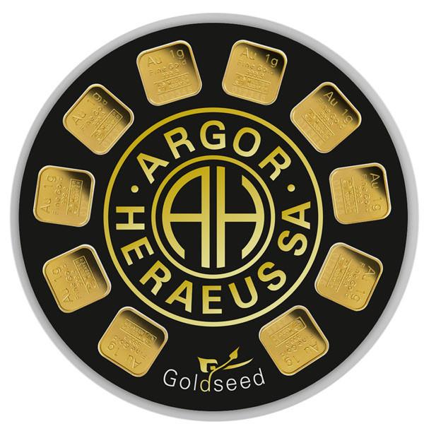 Goldbarren Argor-Heraeus Dispenser 10 mal 1 g
