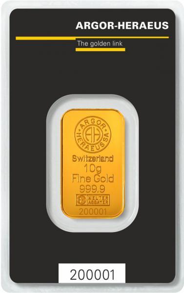 Goldbarren Argor-Heraeus 10 g