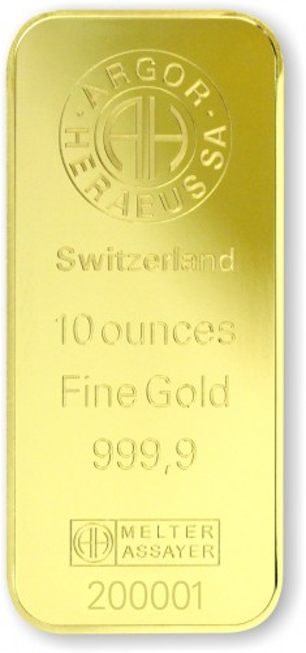 Goldbarren Argor-Heraeus geprägt 10 oz