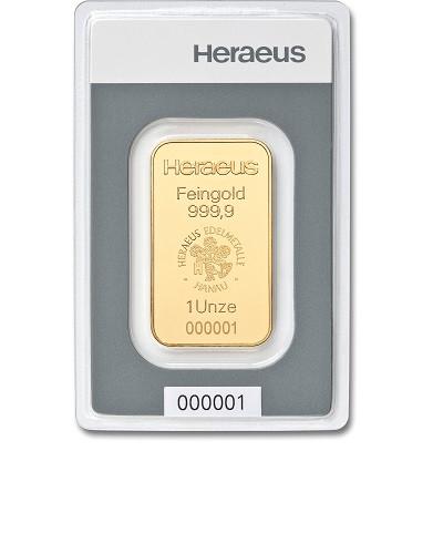 Goldbarren Heraeus 1 oz
