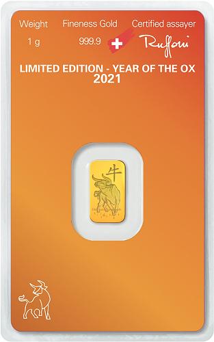 Goldbarren Argor-Heraeus Lunar Ochse 2021 - 1 g