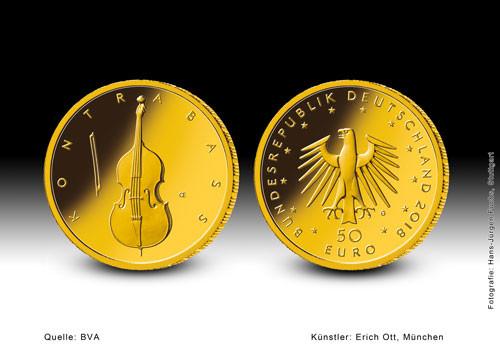 50 Euro Musikinstrumente - Kontrabass 2018 Prägestätte A 1/4 oz