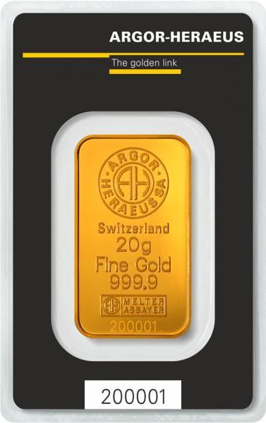 Goldbarren Argor-Heraeus 20 g
