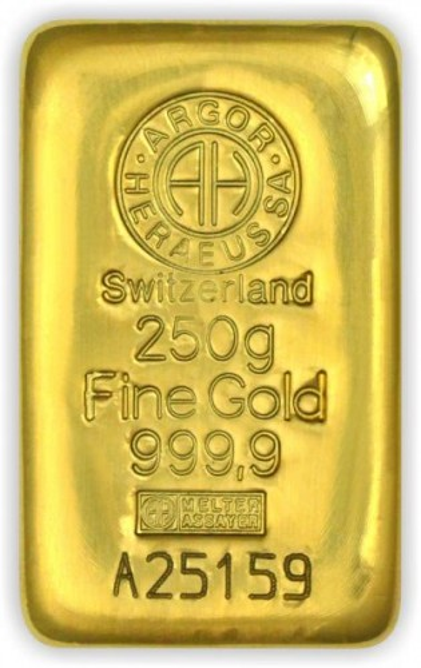 Goldbarren Argor-Heraeus gegossen 250 g