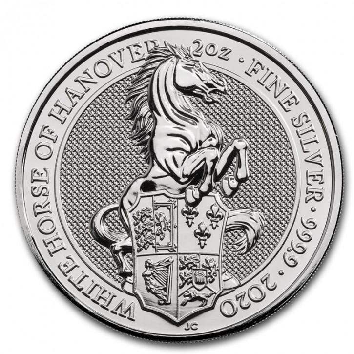 Queens Beast White Horse Silber 2 oz 2020