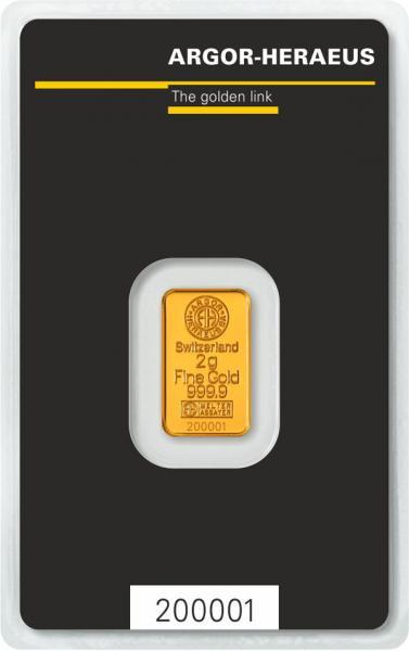 Goldbarren Argor-Heraeus 2 g
