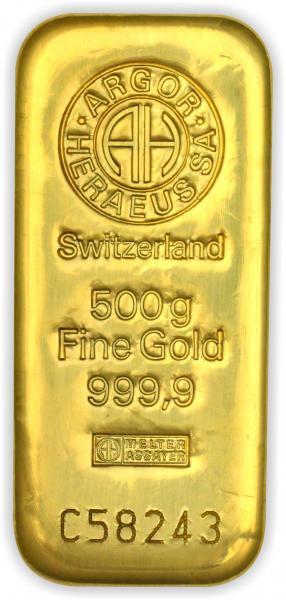 Goldbarren Argor-Heraeus gegossen 500 g