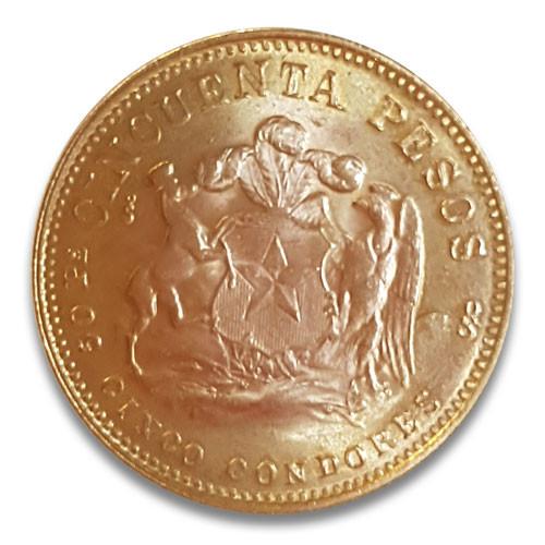 50 Pesos Gold Chile Liberty