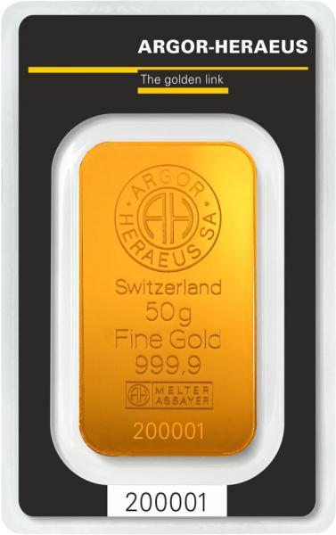 Goldbarren Argor-Heraeus 50 g