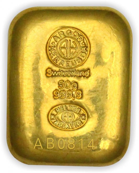 Goldbarren Argor-Heraeus gegossen 50 g