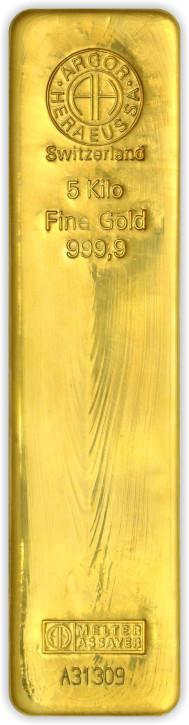 Goldbarren Argor-Heraeus gegossen 5 kg