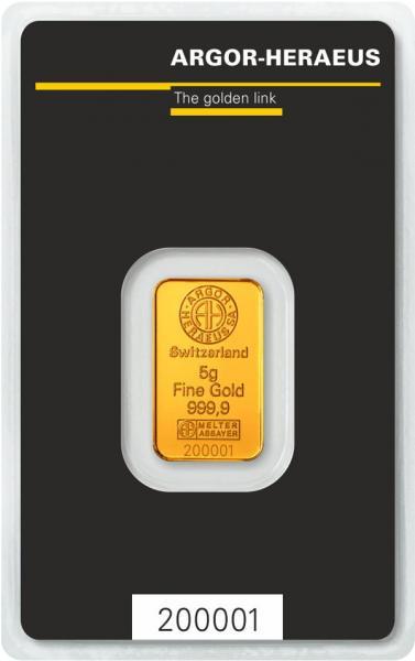 Goldbarren Argor-Heraeus 5 g
