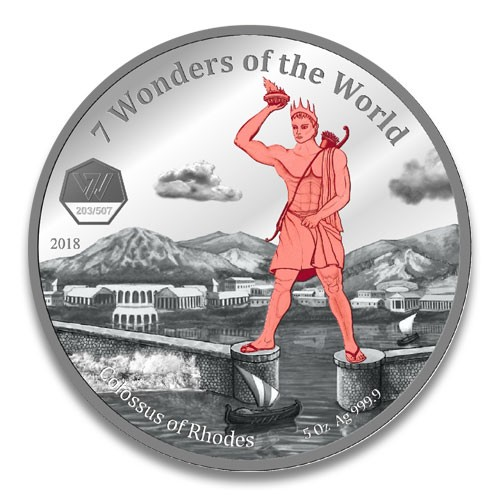 Ghana 7 Wonders of the World 2018 - Koloss von Rhodos Silber 5 oz