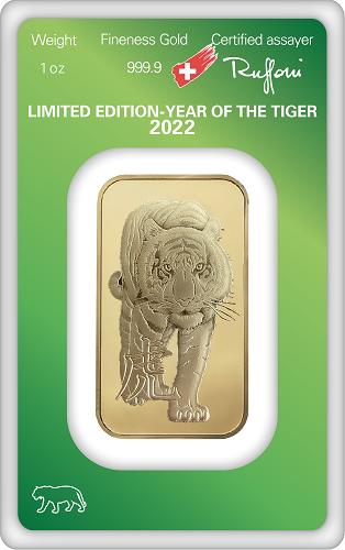 Goldbarren Argor-Heraeus Lunar Tiger 2022 - 1 oz