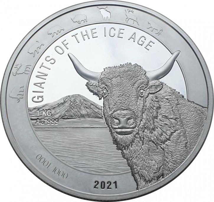 Ghana - Giganten der Eiszeit - Auerochse 1 kg Silber 2021