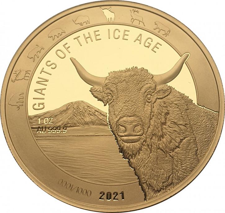 Ghana - Giganten der Eiszeit - Auerochse 1 oz Gold 2021
