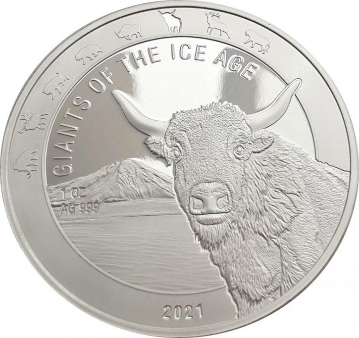 Ghana - Giganten der Eiszeit - Auerochse 1 oz Silber 2021