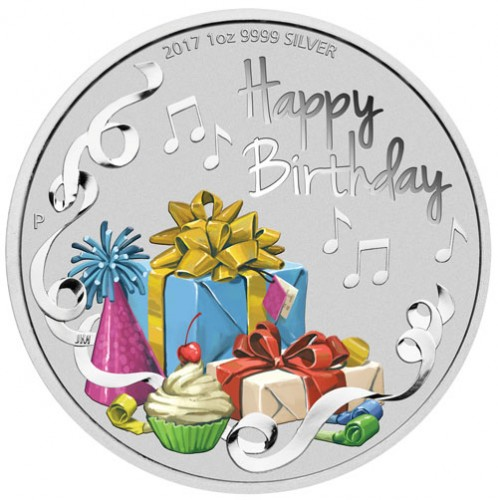 Happy Birthday Silber 1 oz coloriert polierte Platte 2017