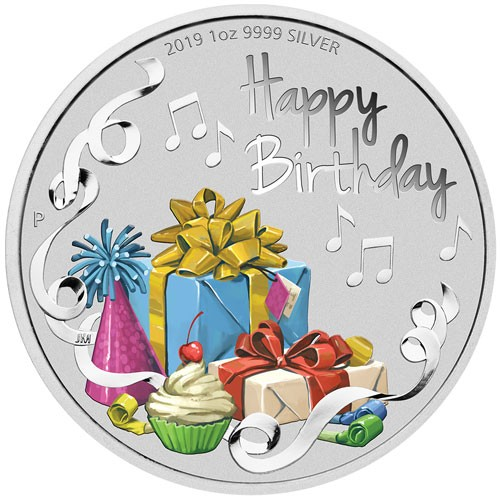 Happy Birthday Silber 1 oz coloriert polierte Platte 2019