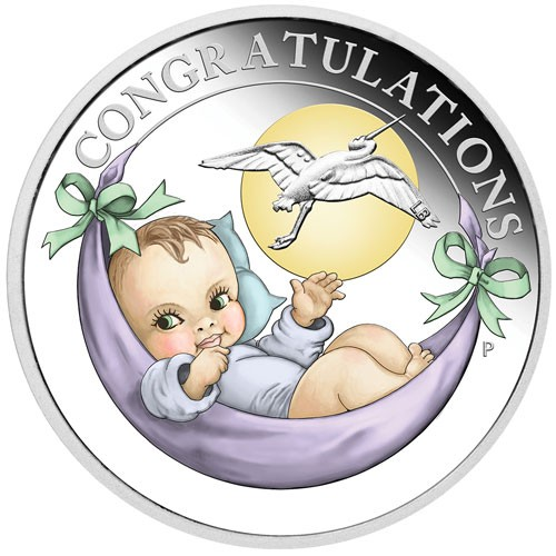 New born baby Silber 1/2 oz polierte Platte 2019