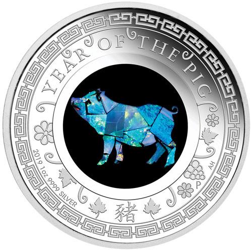 Lunar Opal Schwein 2019 Silber 1 oz