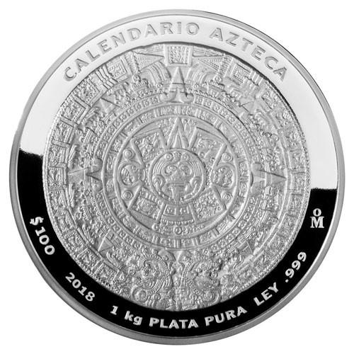 Aztekenkalender Silber 1 kg Prooflike 2018