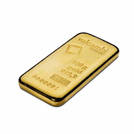 Goldbarren Valcambi gegossen 500 g