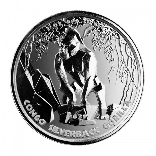 Congo Silverback Gorilla prooflike Silber 1 oz 2021