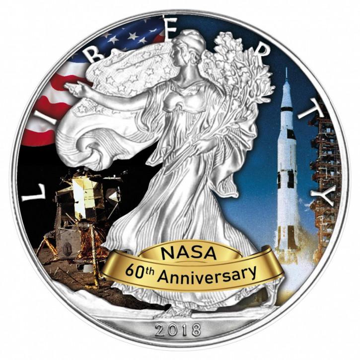 American Eagle 2018 - 60 Jahre NASA - Apollo - Silber coloriert 1 oz