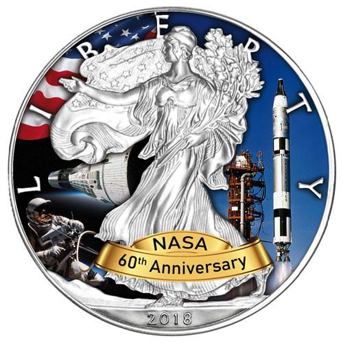 American Eagle 2018 - 60 Jahre NASA - Gemini - Silber coloriert 1 oz