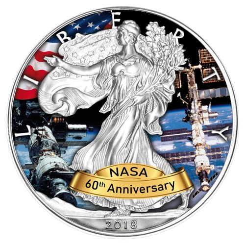 American Eagle 2018 - 60 Jahre NASA - ISS - Silber coloriert 1 oz