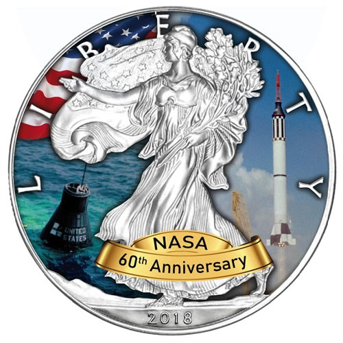 American Eagle 2018 - 60 Jahre NASA - Mercury - Silber coloriert 1 oz