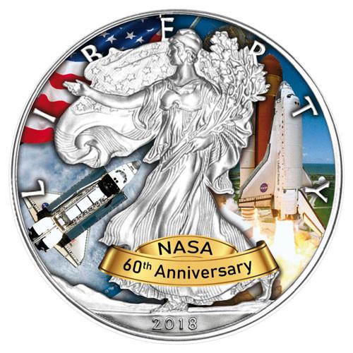 American Eagle 2018 - 60 Jahre NASA - Space Shuttle - Silber coloriert 1 oz