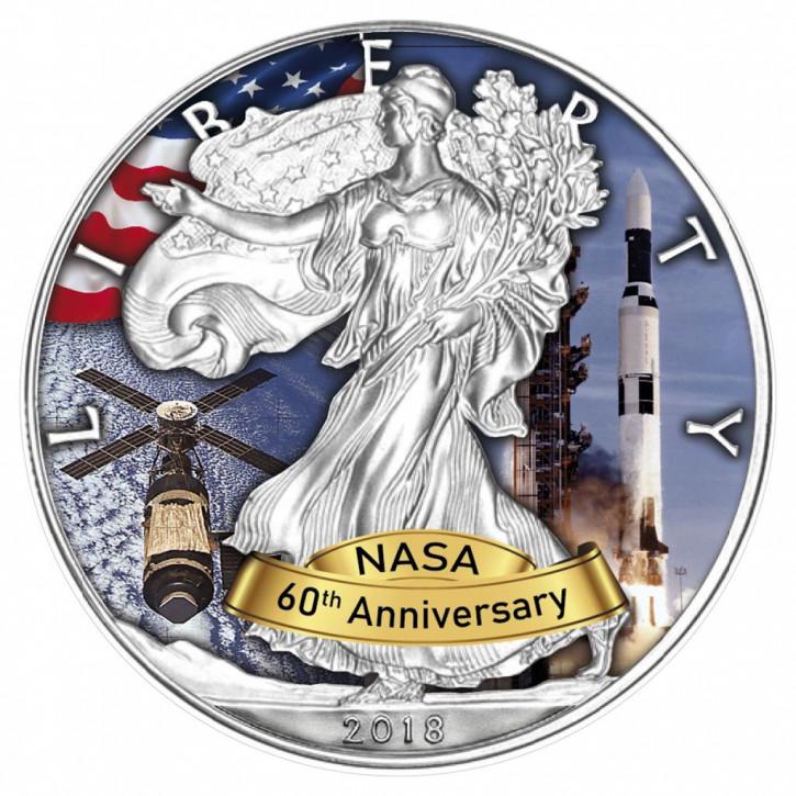 American Eagle 2018 - 60 Jahre NASA - Skylab - Silber coloriert 1 oz
