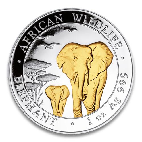 Somalia Elefant Silber 1 oz vergoldet 2015