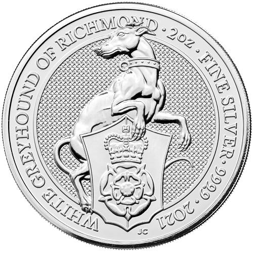 Queens Beast White Greyhound Silber 2 oz 2021