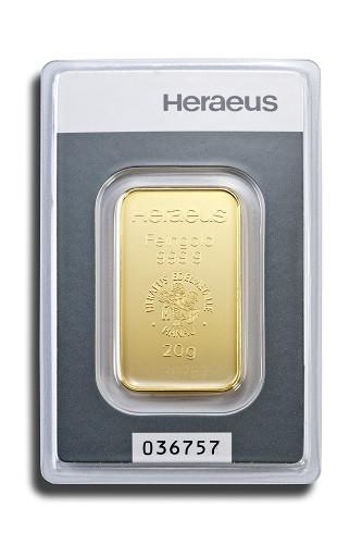 Goldbarren Heraeus 20 g