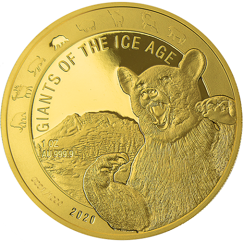 Ghana - Giganten der Eiszeit - Höhlenbär 1 oz Gold 2020
