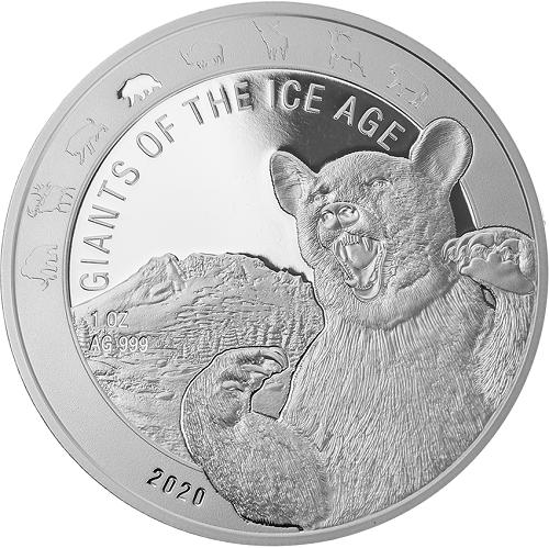 Ghana - Giganten der Eiszeit - Höhlenbär 1 oz Silber 2020