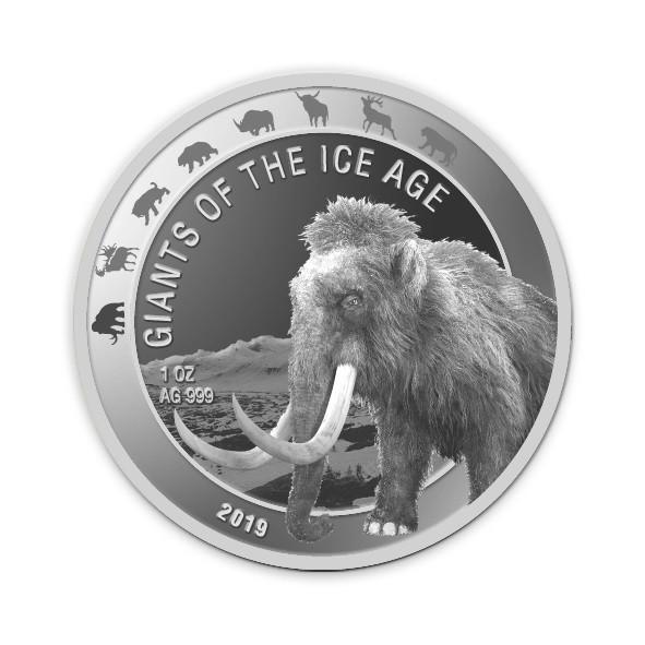 Ghana - Giganten der Eiszeit - Wollmammut 1 oz Silber 2019