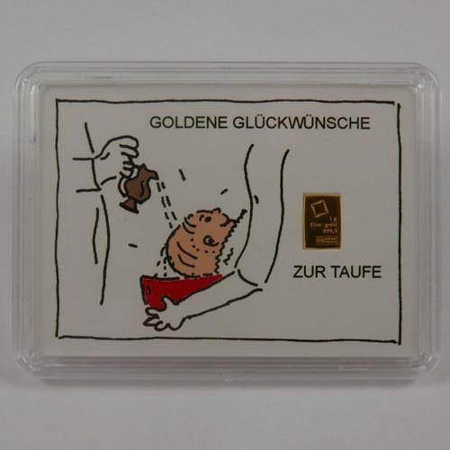 Goldbarren Valcambi 1 g Taufe - Zur Taufe