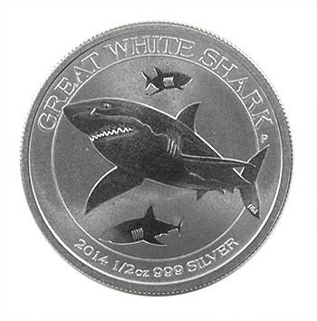 Weißer Hai Silber 1/2 oz 2014
