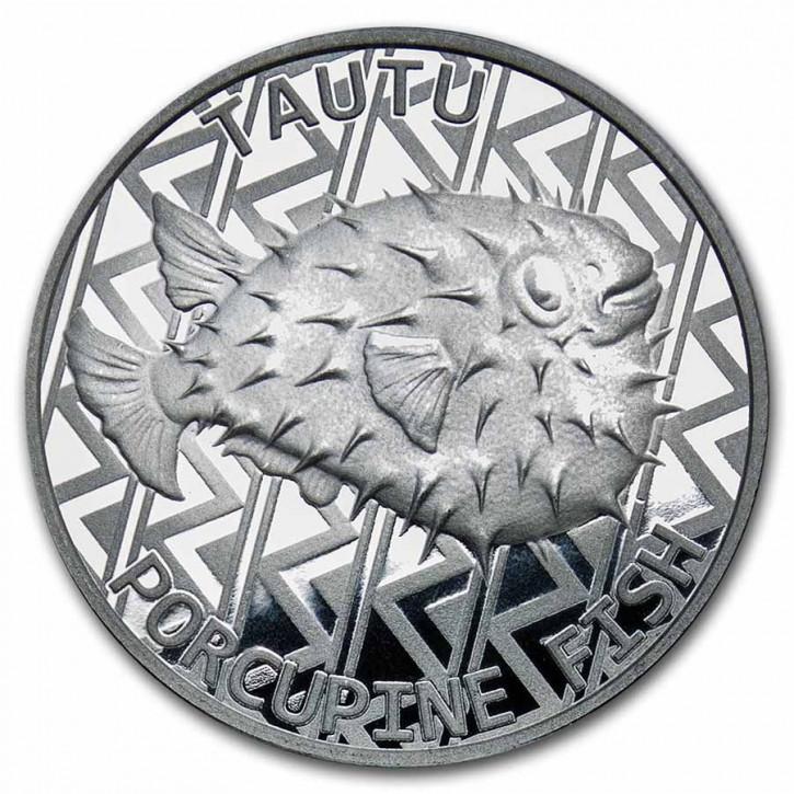 Tokelau - Igelfisch Silber 1 oz 2021