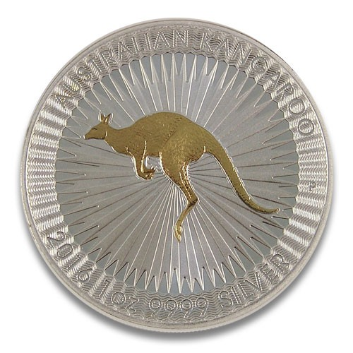 Känguru Perth Mint Silber 1 oz 2016 vergoldet