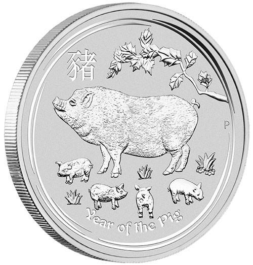 Lunar II Schwein 2019 Silber 10 oz