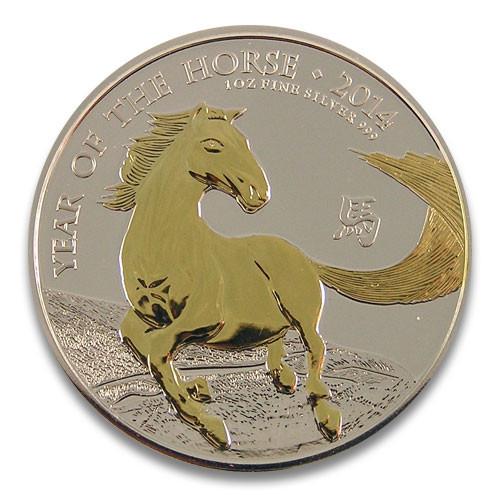 Lunar UK Pferd 2014 Silber 1 oz vergoldet