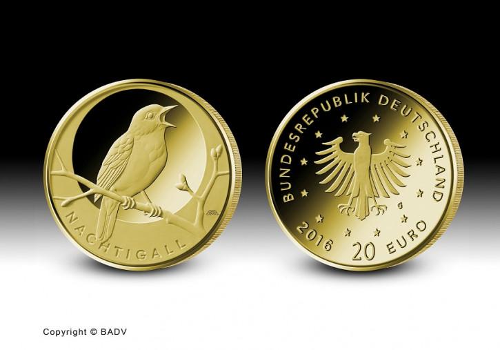 20 Euro Heimische Vögel - Nachtigall 2016 Prägestätte A 1/8 oz