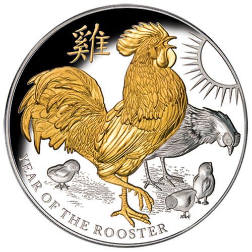Niue - Jahr des Hahnes 2017 - 5 oz Silber vergoldet